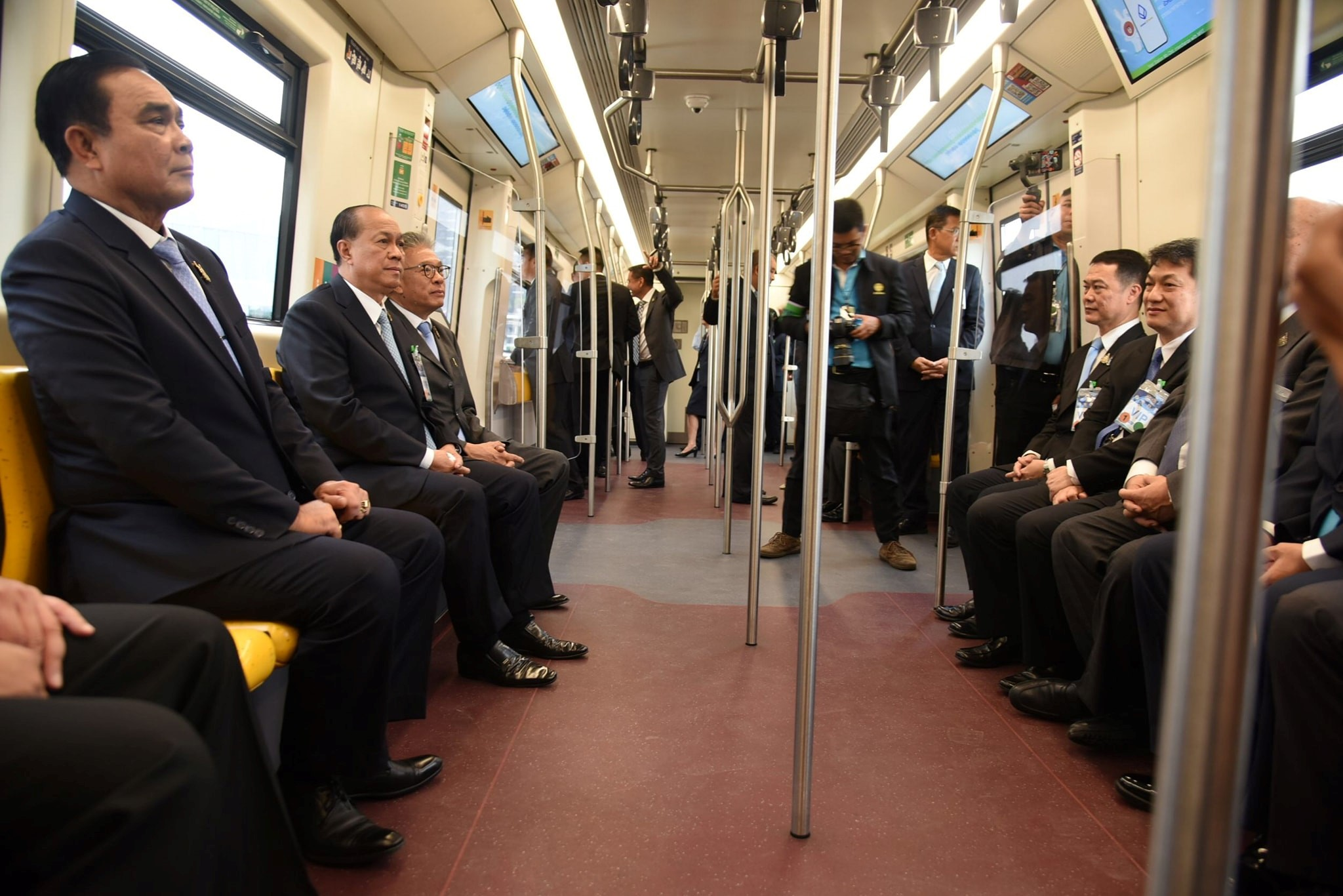MRTA, BMA, KT, and BTS ride a trial run before launches a service of the Ha Yaek